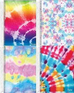 Caderno Tie Dye Kit 4 Cadernos 1 Matéria Capa Dura Espiral