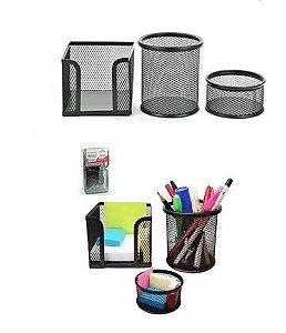 Kit 3 Organizador Mesa Escritórios Aramado Porta Lápis Clips