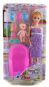 Boneca Gravida Loira Com Bebe E Banheira Mamadeira E Chupeta