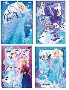 Kit 4 Caderno Frozen Brochurao Grande Elsa Anna Olaf 96 Fls