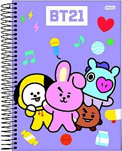 Caderno Bts Mascote Bt21 Espiral 10 Matérias Universitário 200 Folhas Lançamento 2021  - Jandaia