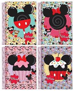 Caderno Universitário Capa Dura Espiral 1 Matéria  96 Folhas Disney Mickey Minnie  kit 4 Cadernos