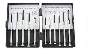 Kit Chave Precisão Relojoeiro Celular 11 Pçs Fenda E Philips