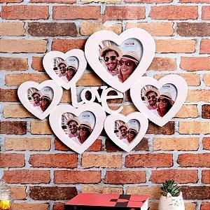 Porta Retrato Mural Love Coração P/ 6 Fotos Branco