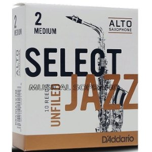 Palhetas Select jazz - Unfiled - para sax alto (caixa com 10)