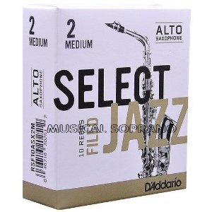 Palhetas Select Jazz - Filed - para sax alto (caixa com 10)