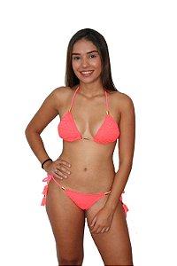 Biquíni Cortininha Crochê Rosa Neon - LB19265-370 - LaBamba
