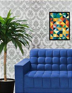 Papel de Parede Autoadesivo Branco com Arabesco Prata Texturizado - CHI5189 - Yins Home