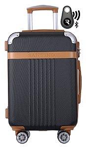 Kit Com Mala De Bordo Athena E Localizador Bluetooth Reaggio - Com Rodas 360º  - Santino - Abgv182P01 - Preta