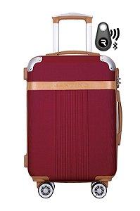 Kit com Mala de Bordo Athena e Localizador Bluetooth Reaggio - com Rodas 360º  - Santino - ABGV182P25 - Vinho