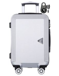 Kit com Mala de Bordo Festo e Localizador Bluetooth Reaggio - com Rodas 360º  - Santino - ABGV181P16 - Prata