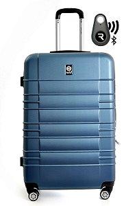 Kit com Mala de Bordo Double Wheel e Localizador Bluetooth Reaggio - com Rodas 360º  - Santino - ASAV8001P12 - Azul