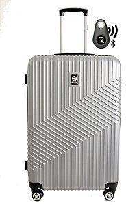 Kit com Mala de Bordo Geometric e Localizador Bluetooth Reaggio - com Rodas 360º  - Santino - ASAV7003P16 - Prata