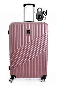Kit com Mala de Bordo Geometric e Localizador Bluetooth Reaggio - com Rodas 360º  - Santino - ASAV7003P62 - Rosa