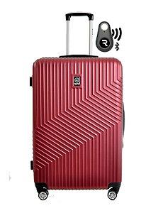 Kit com Mala de Bordo Geometric e Localizador Bluetooth Reaggio - com Rodas 360º  - Santino - ASAV7003P25 - Vinho