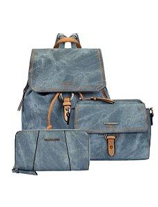 Kit Mochila Jeans com Zíperes, Bolsa Crossbody e Carteira Estonada Mormaii - 447002 - Azul