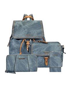 Kit Mochila Jeans com Zíperes, Bolsa Crossbody, Bolsa Porta Celular e Carteira Estonada Mormaii - 447003 - Azul