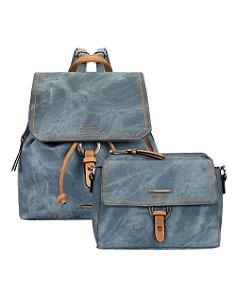 Kit Mochila Jeans com Zíperes e Bolsa Crossbody Mormaii - 447004 - Azul