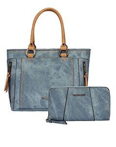 Kit Bolsa Satchel e Carteira Estonada Mormaii - 447007 - Azul