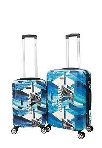Kit com 2 Malas de Viagem Mormaii Estampada P e M 20 e 24 Polegadas - MOV200J02 - Azul