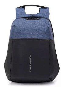 Mochila para Notebook Antifurto - MN4058 - Preto e Azul com Cadeado