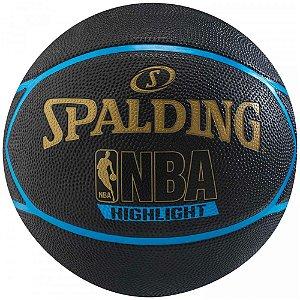 Bola de Basquete Spalding - Highlight - Borracha - Azul/Dourado