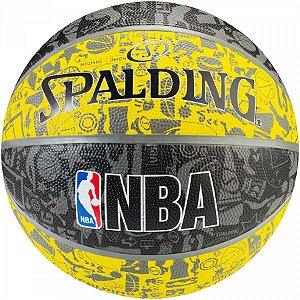 Bola de Basquete Spalding - NBA Graffiti - Borracha - Amarelo/Cinza