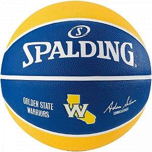 Bola de Basquete Spalding - NBA Time Golden State Warriors - Borracha - Azul/Amarelo