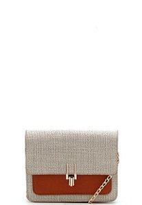 Bolsa transversal Pequena com detalhe dourado - Morena Bonita.