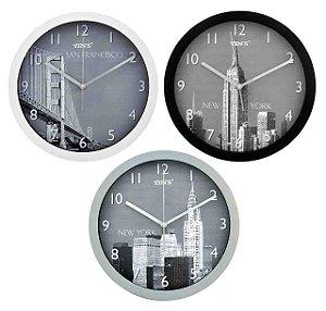 Relógio de Parede - Redondo Foto de Cidades - 30CM
