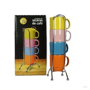 Jogo de 4 Xícaras para café 60ml Coloridas com Suporte