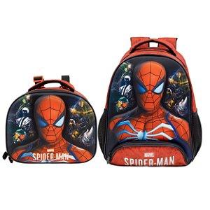 Kit Escolar Infantil com Mochila e Lancheira S1 - Spider Man 3D