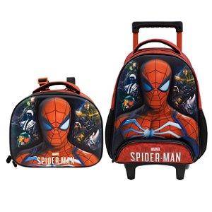 Kit Escolar Infantil com Mochila com Rodas e Lancheira S1 - Spider Man 3D