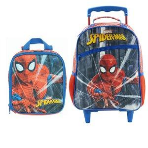 Kit Escolar Infantil com Mochila com Rodas e Lancheira Protector - Spider Man