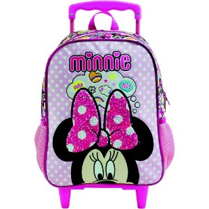 Mochila com Rodas infantil Escolar Magic Bow - Minnie Rosa