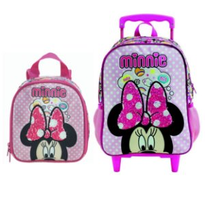 Mochila com Rodas e Lancheira infantil Escolar Magic Bow - Minnie Rosa