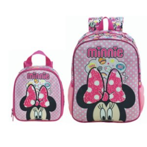 Mochila Costas e Lancheira infantil Escolar Magic Bow - Minnie Rosa
