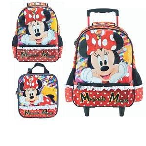 Mochila com Rodas, Lancheira e Mochila de Costas infantil Escolar Magic Bow - Minnie Vermelha