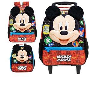 Mochila com Rodas, Mochila de Costas e Lancheira Infantil Escolar em 3D - Mickey Mouse