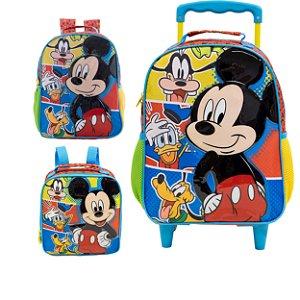 Mochila de Costas, Mochila com Rodas e Lancheira Infantil Escolar - Mickey Mouse
