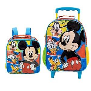 Mochila com Rodas e Lancheira Infantil Escolar - Mickey Mouse