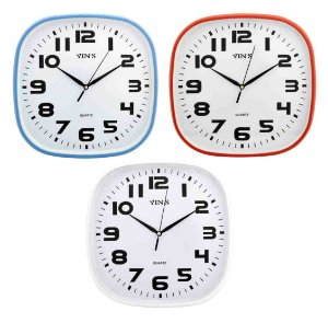 Relógio de Parede Retangular Sortido - 30cm - Números Grandes