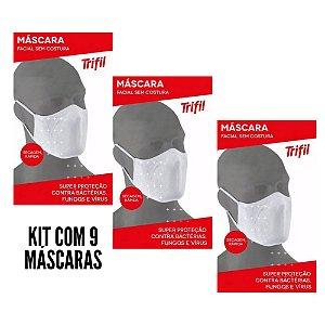 Kit Com 9 Máscaras Trifil Original Lavável Confortável