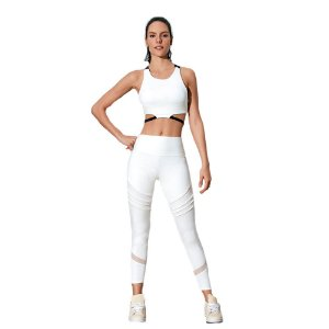 LEGGING TWIST COM FRISOS OFF WHITE TAM P - ALTOGIRO