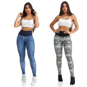 LEGGING DOUBLE FACE FANCY JEANS CLARO - CAJUBRASIL