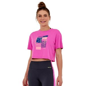 T-SHIRT CROPPED SKIN FIT AG BLOCK PINK CHARM TAM M - ALTOGIRO