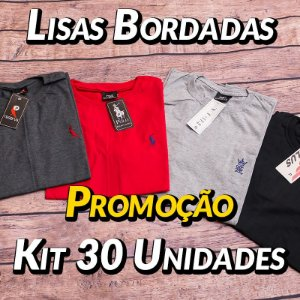 Kit 30 UN - Camiseta Gola Redonda Lisa