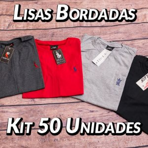 Kit 50 UN - Camiseta Gola Redonda Lisa - Roupas no Atacado