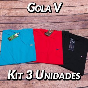 Kit 3 UN - Camiseta Gola V Lisa