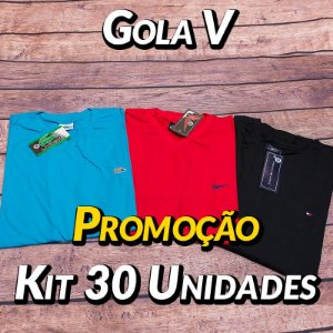 Kit 30 UN - Camiseta Gola V Lisa